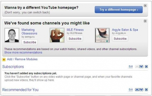 Example of a personalized homepage in YouTube
