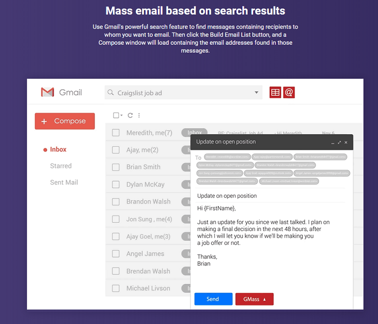 Build email list from Gmail