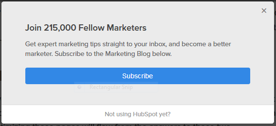 Marketing Lists: Pop-up call-to-action on Hubspot's subpages