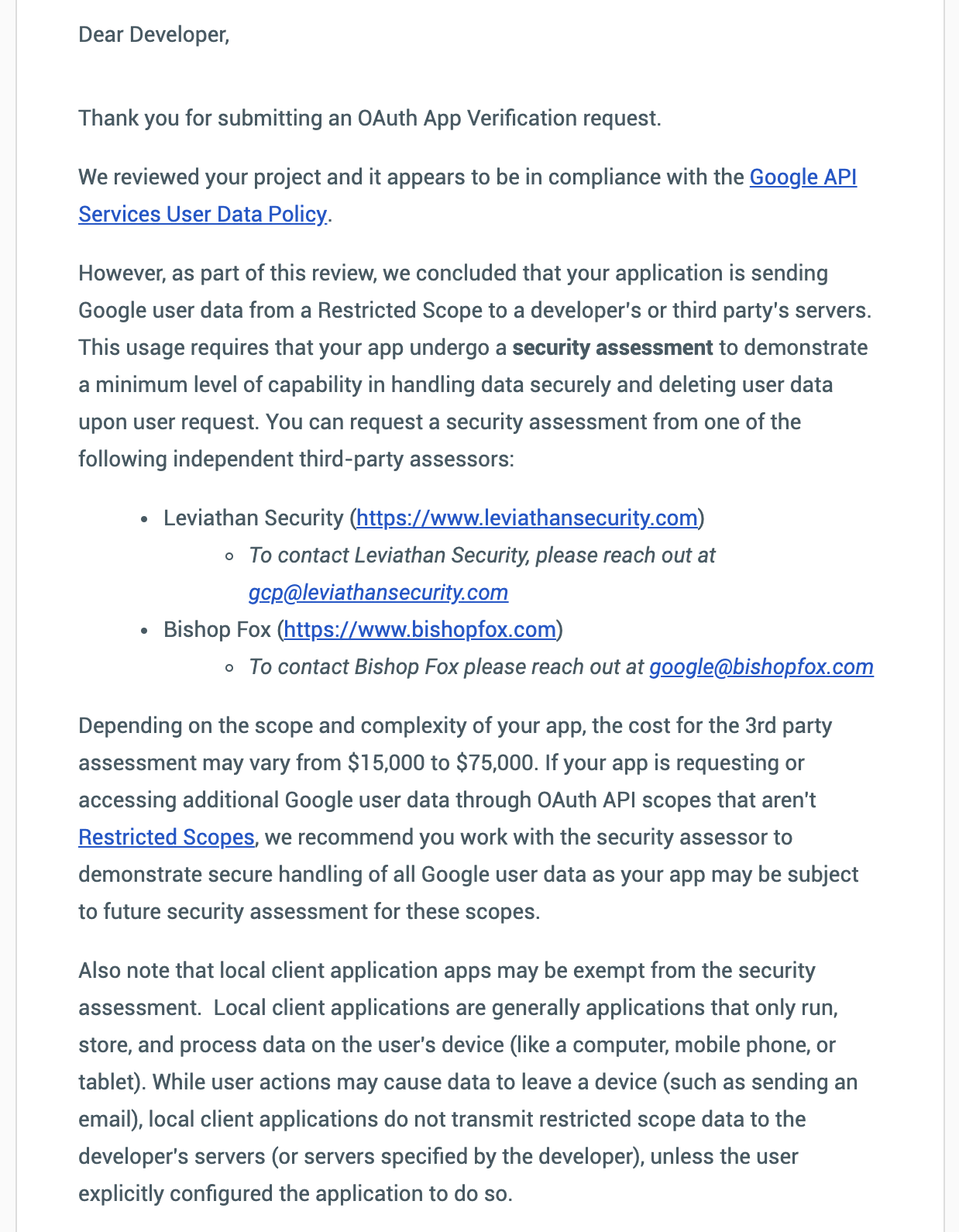 Google Oauth Scopes