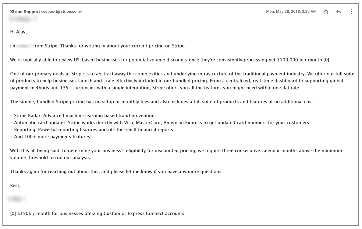 Stripe Support email 2