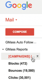 Shows the location of GMass reports inside your Gmail account.