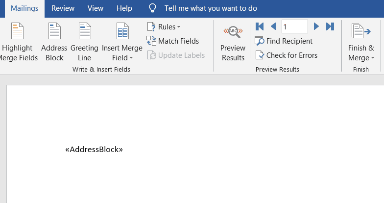 shows the address block tag inserted into word