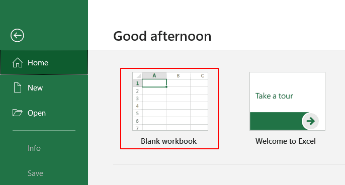Microsoft Excel open page.