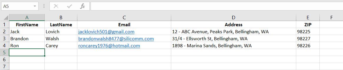 Excel data sheet.
