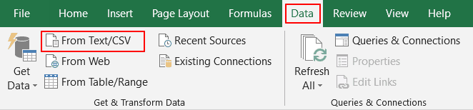 Import CSV files into Excel by clicking on Data menu.