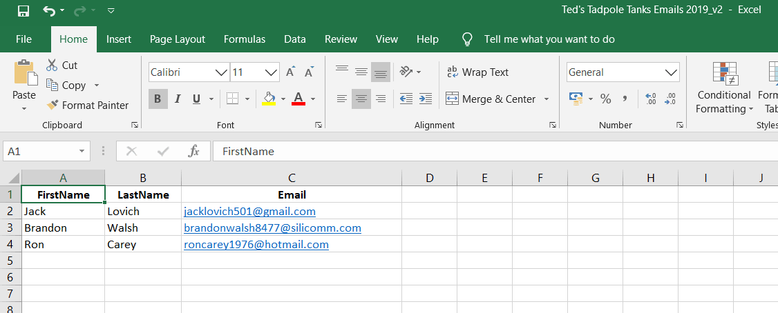 shows an excel sheet
