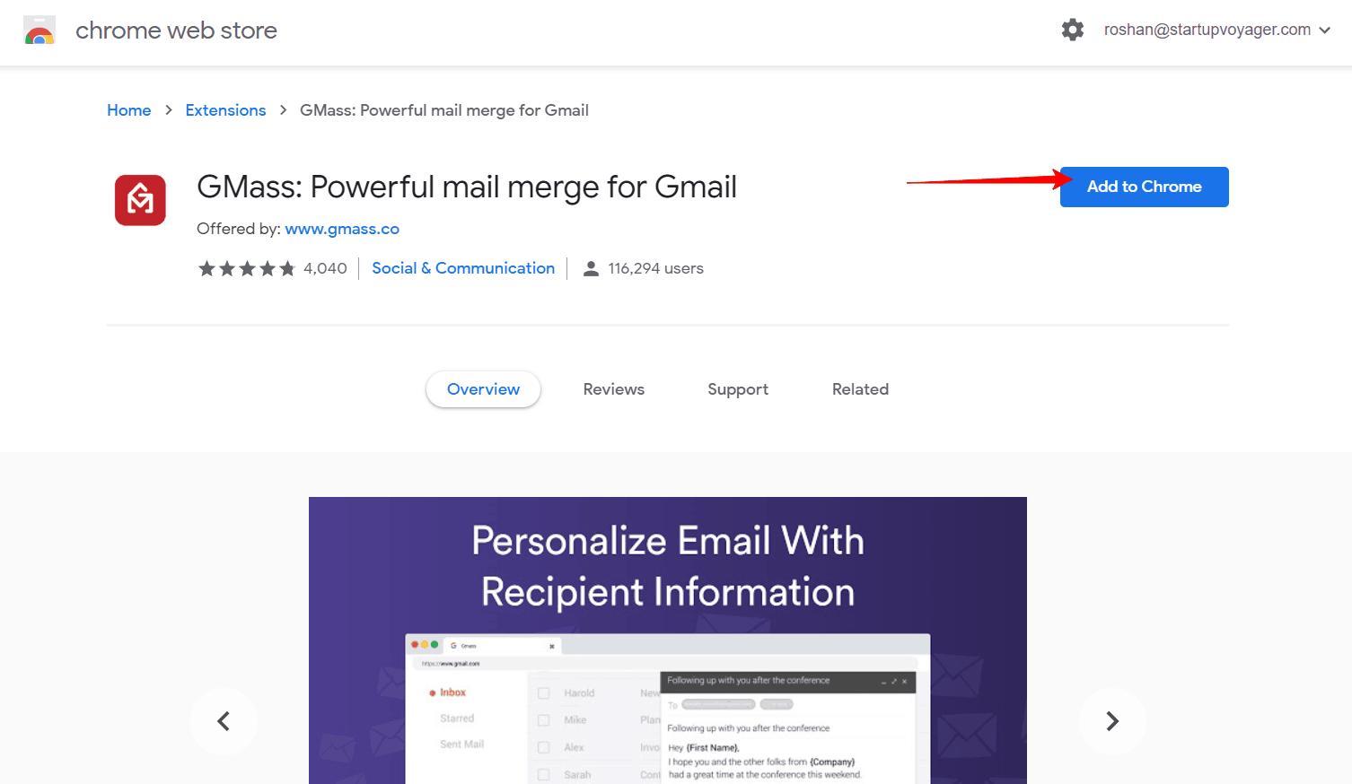 GMass Chrome Web Extension page.