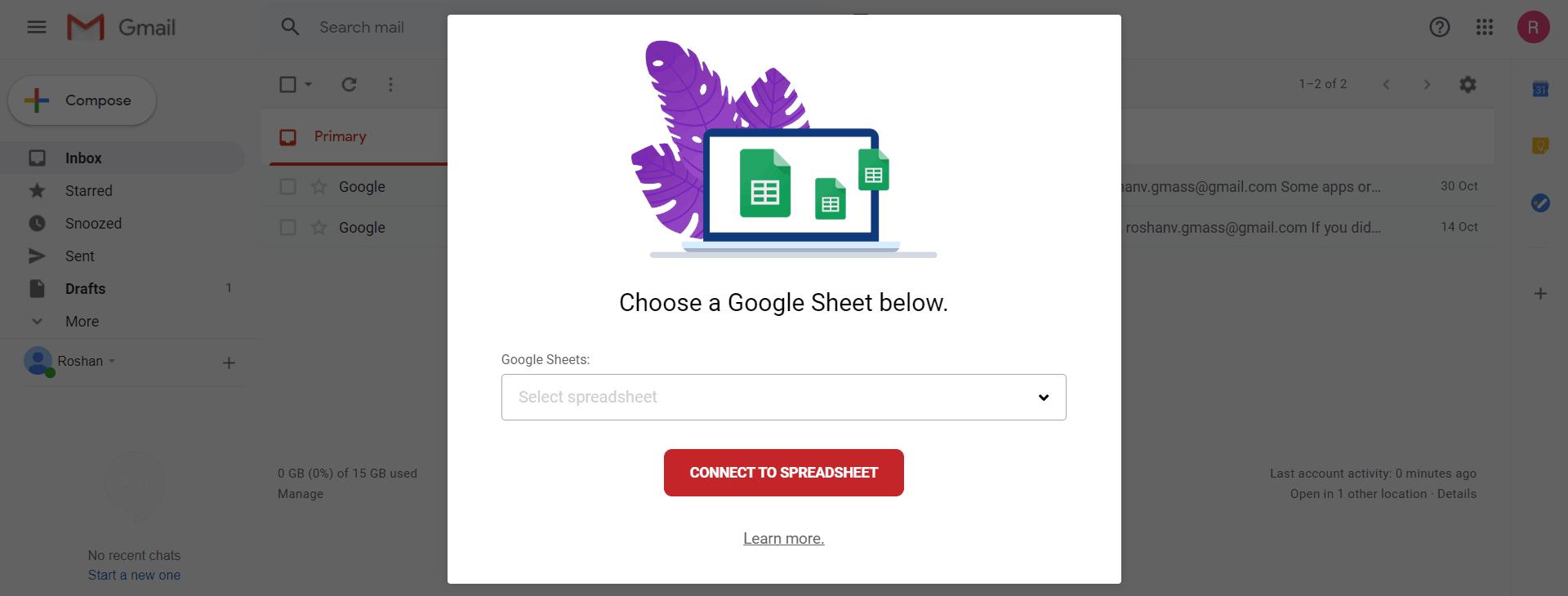 Connect GMass to Google Sheets dialog box.