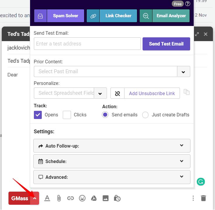 GMass mail merge settings.