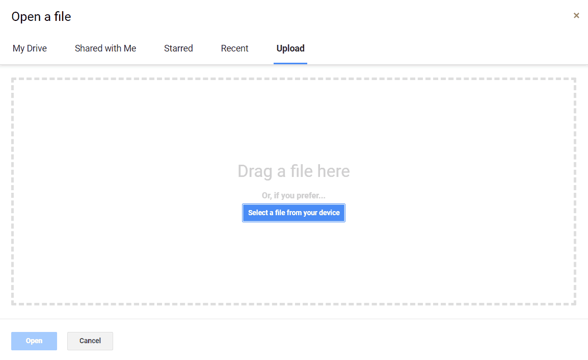 Drag or select file to upload window.