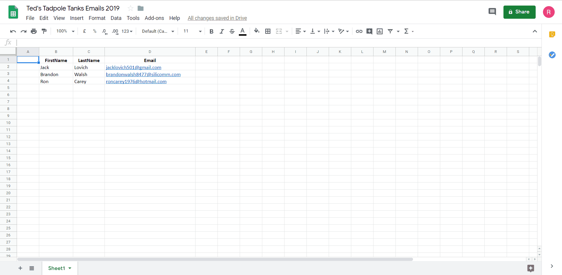 shows the GSheets after deleting rows