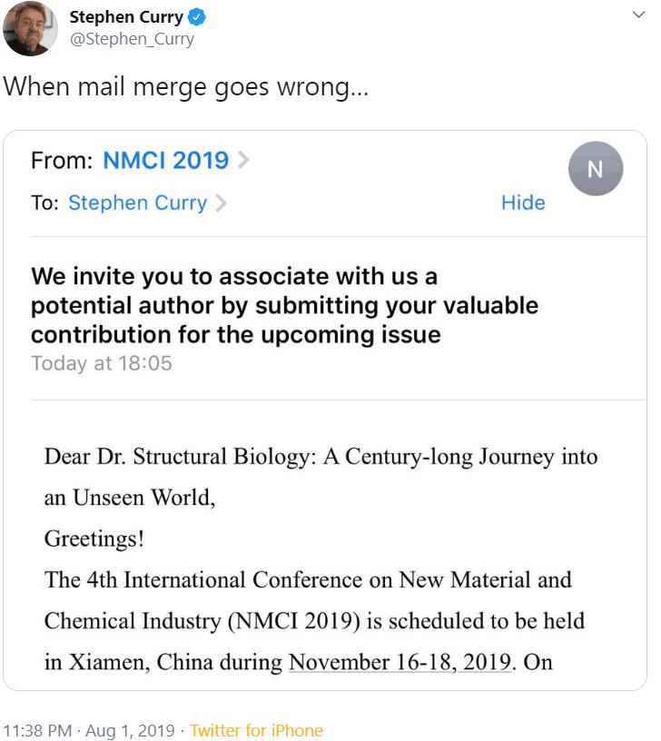 A funny mail merge fail.