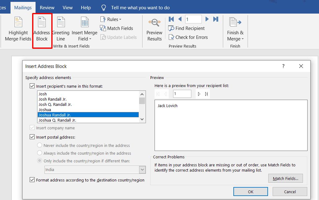 Address block insertion in MS Word.
