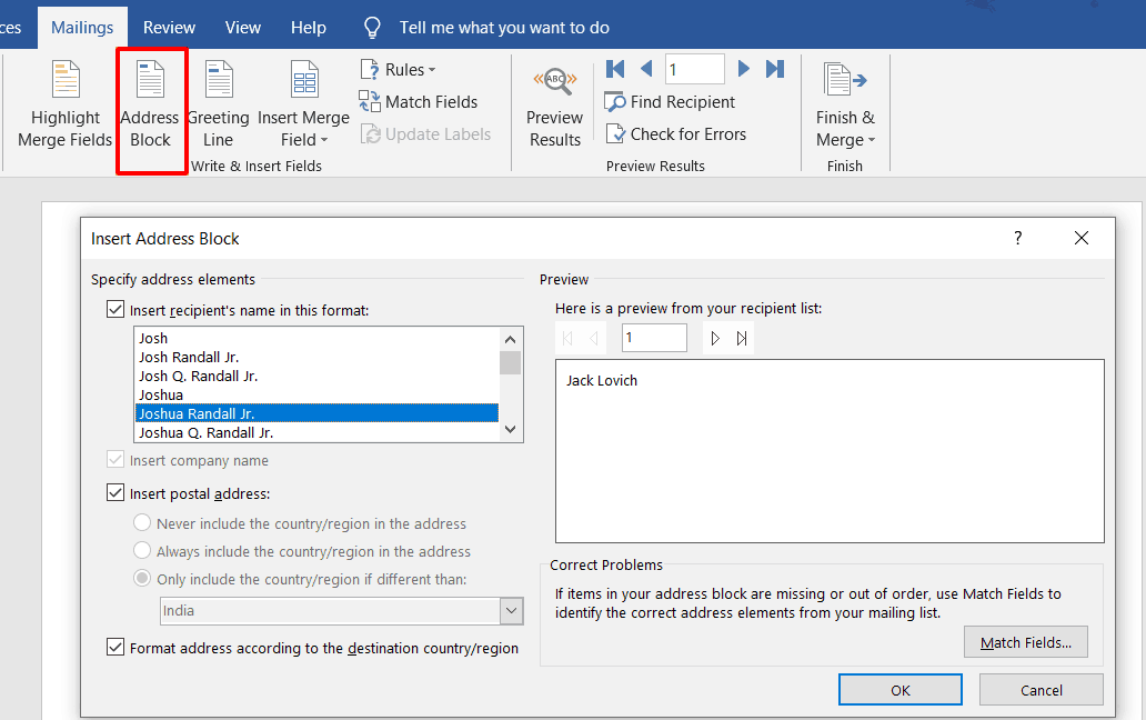 shows the Insert Address Block window in word