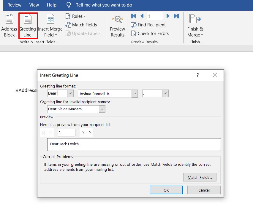 shows the Insert Greeting Line window in word