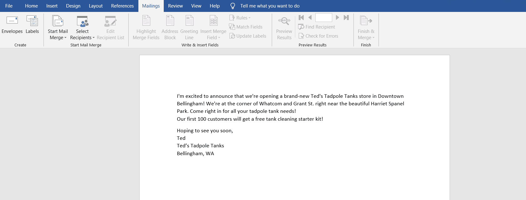 A letter in MS Word.