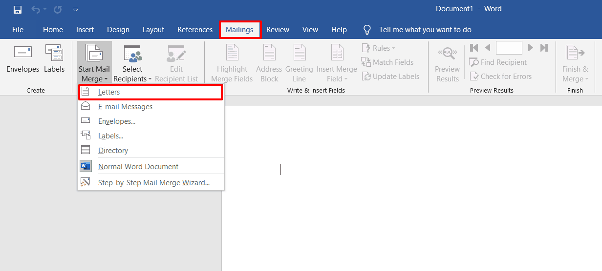 Merge document type menu in Word.