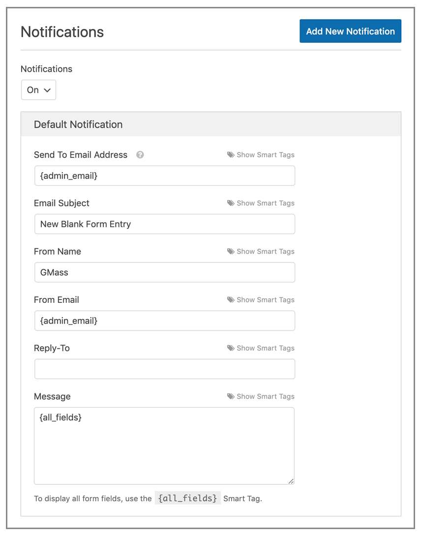 Default email notification settings for WPForms