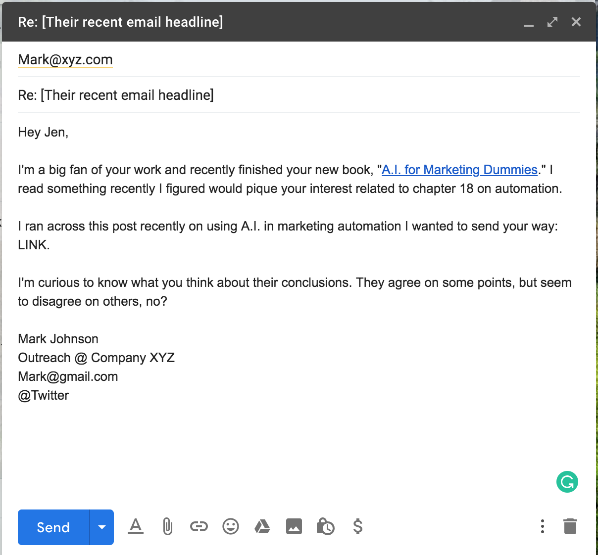 Network cold email template 1