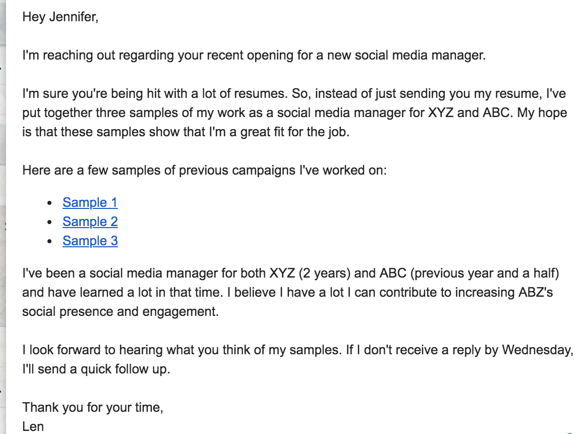 Cold emails for jobs - template 1