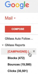GMass label in Gmail sidebar