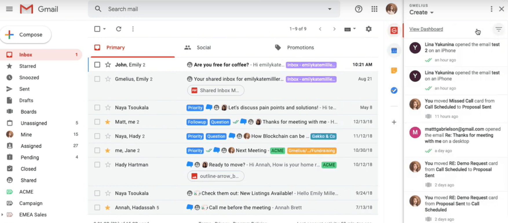 Gmelius's email interface