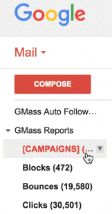 GMass labels in Gmail sidebar