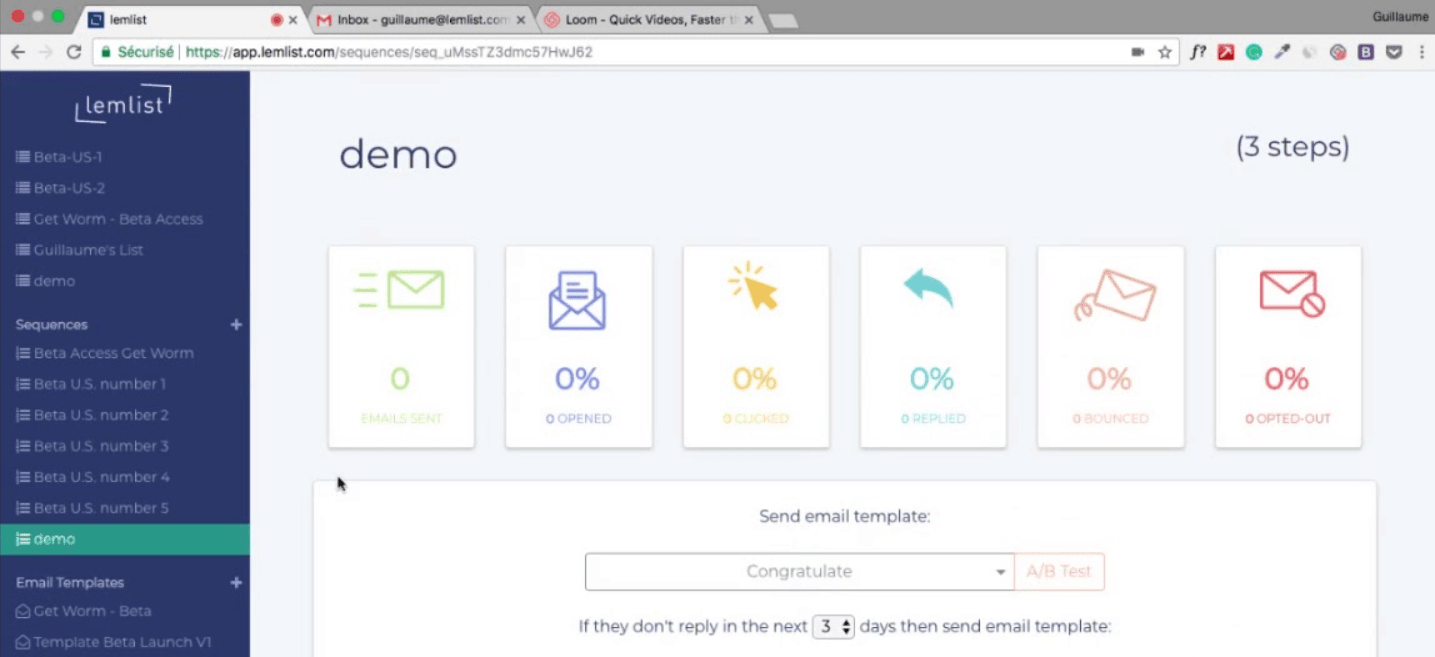 Lemlist's email interface