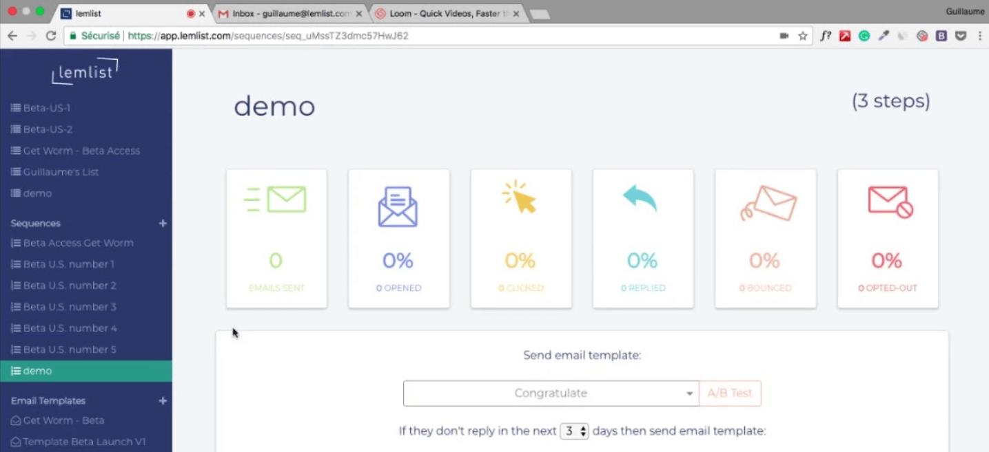 Lemlist interface
