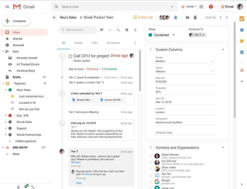 Streak's email interface