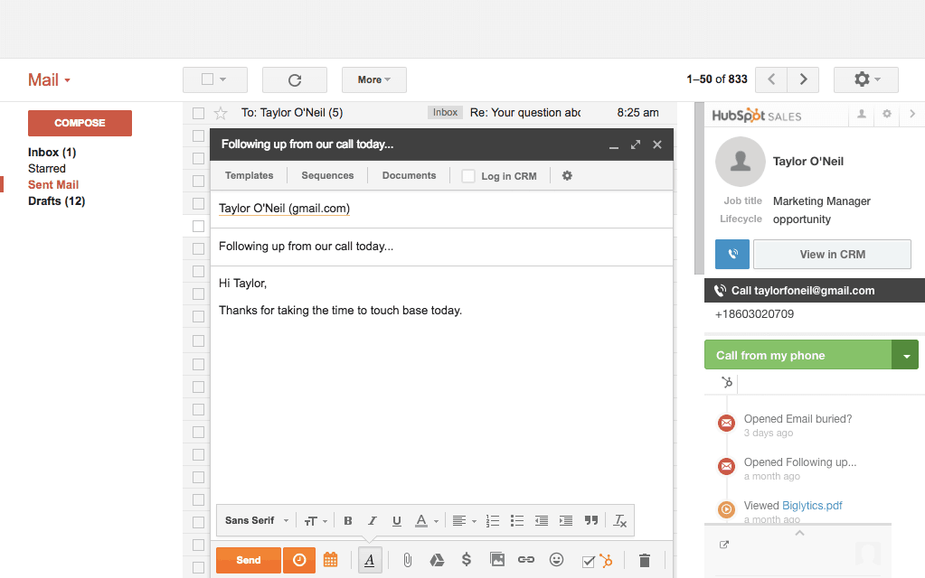 Hubspot interface within Gmail