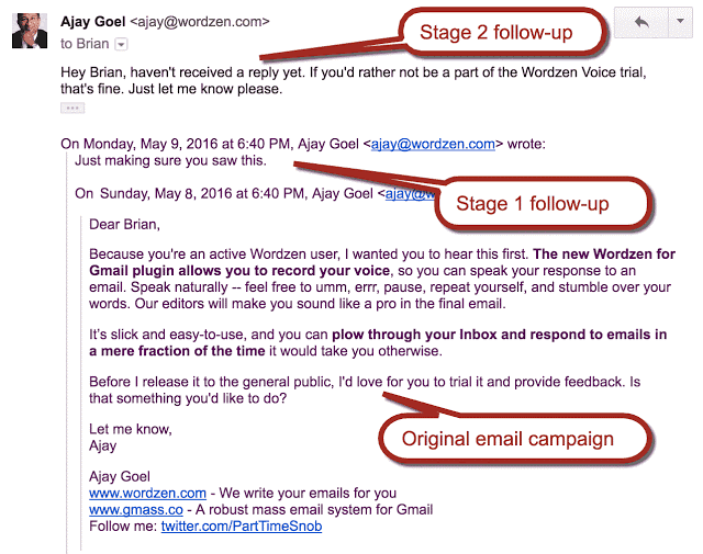Automated email follow-up in Gmass