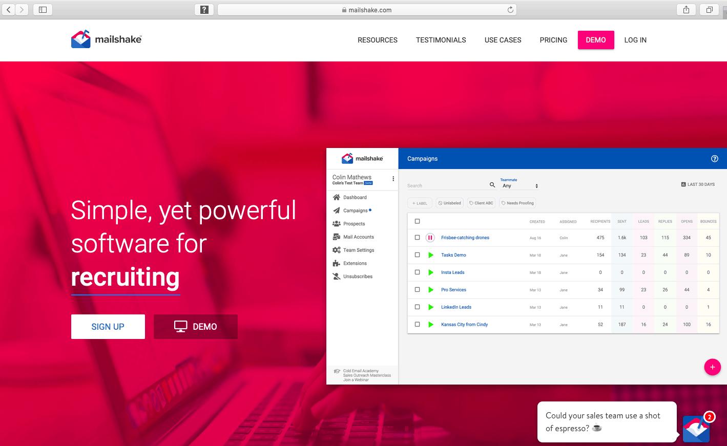 Mailshake webpage