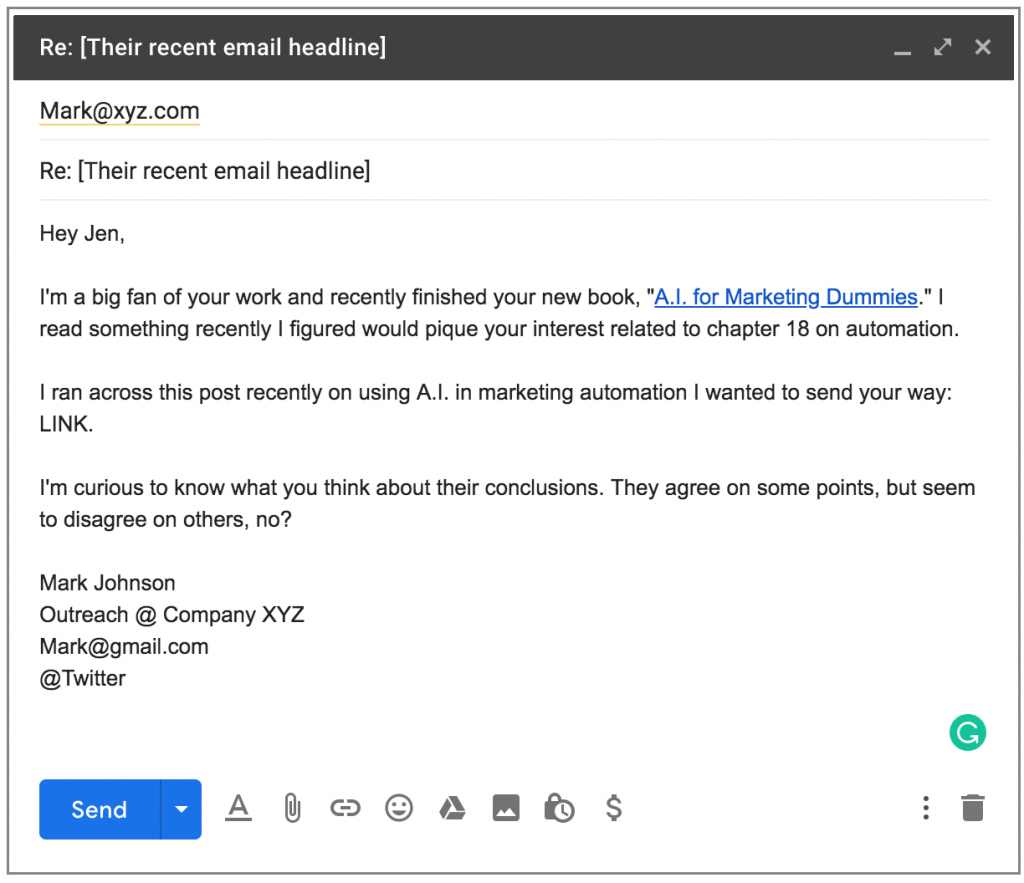 Example of a networking email as part of cold email marketing.