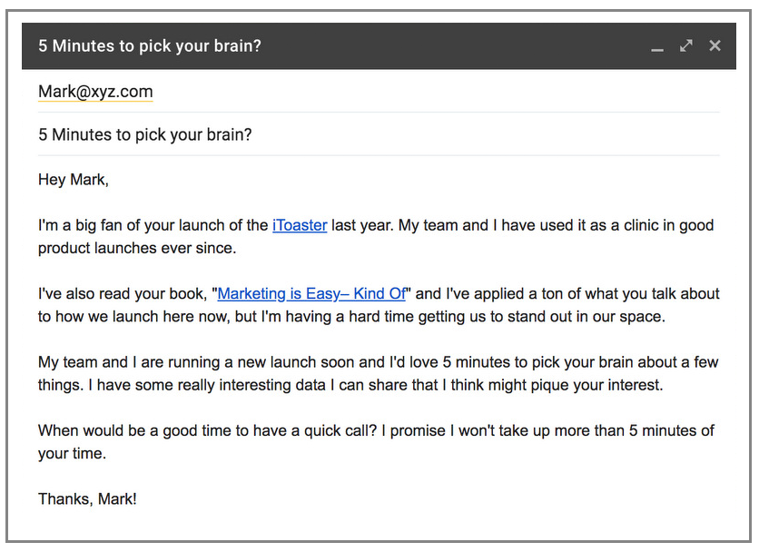 Example of a cold email with excellent use of personalization.