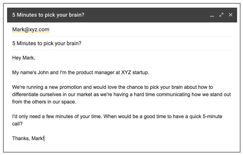 Example of a cold email that fails to make a personalized connection with the recipient.