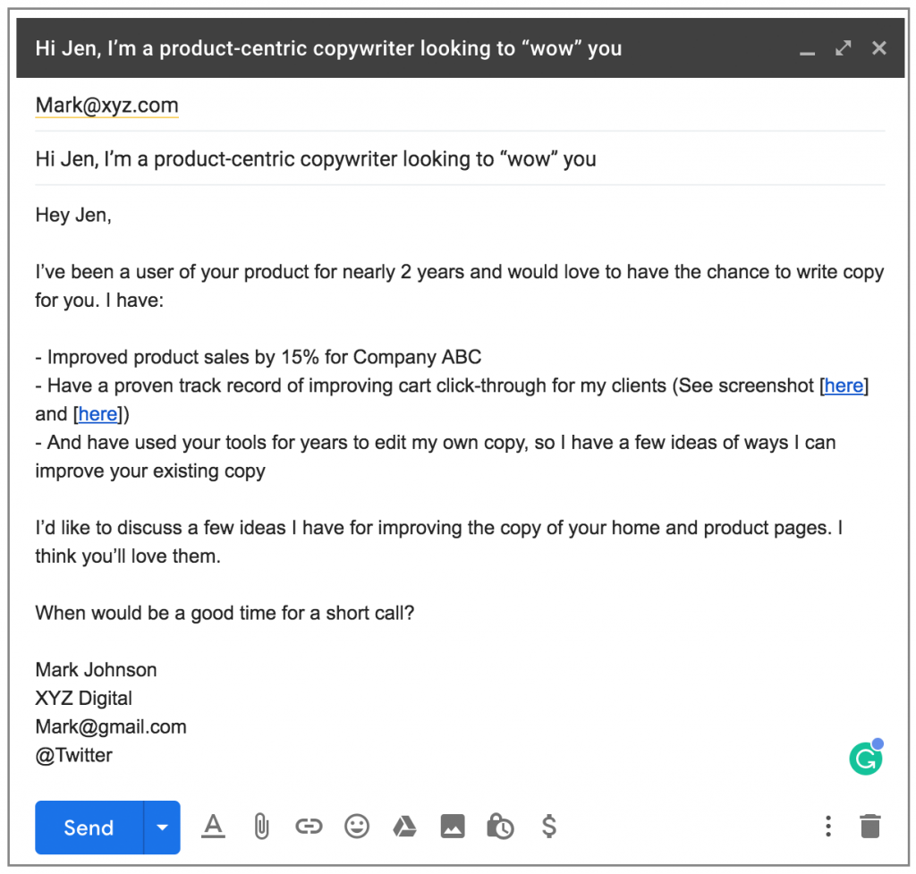 Example of a cold email template for a service provider.