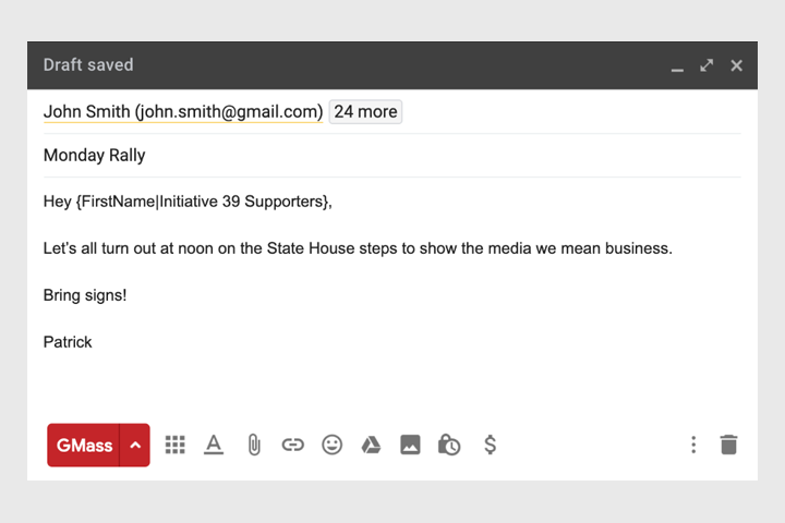 Political campaign email
